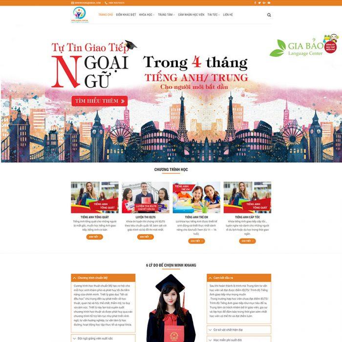 Thiết kế web trung tâm tiếng anh