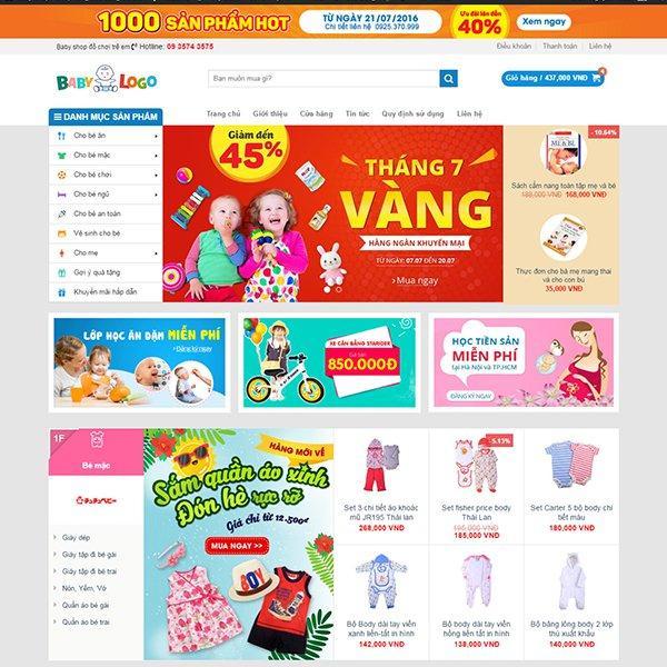Thiết kế web bán hàng baby