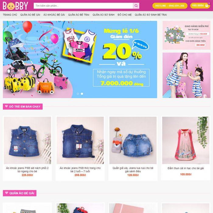 Thiết kế web bán đồ quần áo trẻ em