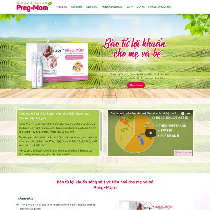 Thiết kế web landingpage thực phẩm chức năng