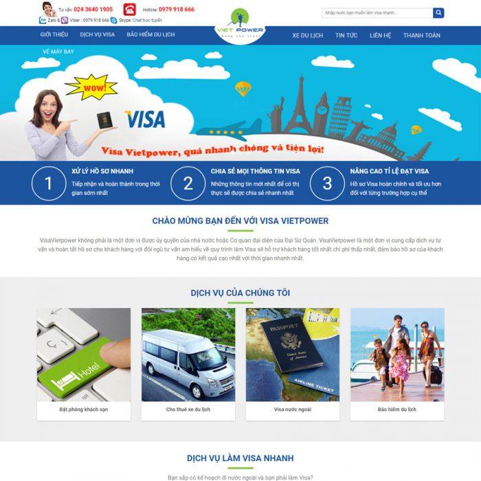 Thiết kế web dịch vụ visa